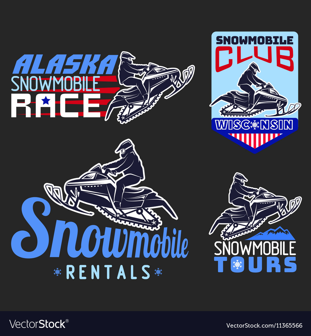 Set of winter snowmobile emblems badges and icons vector