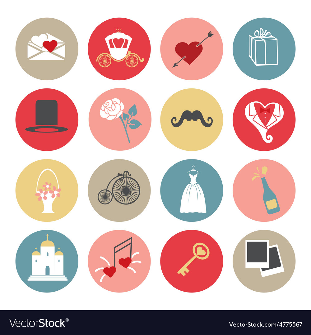 Cute flat wedding icons set for web and mobile vector