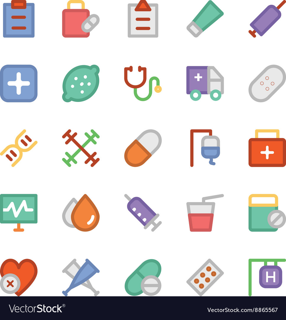 Health colored icons 6 vector