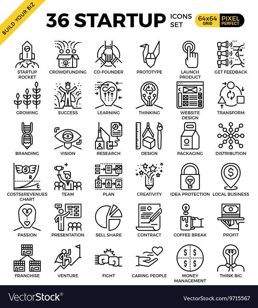 Startup business pixel perfect outline icons vector