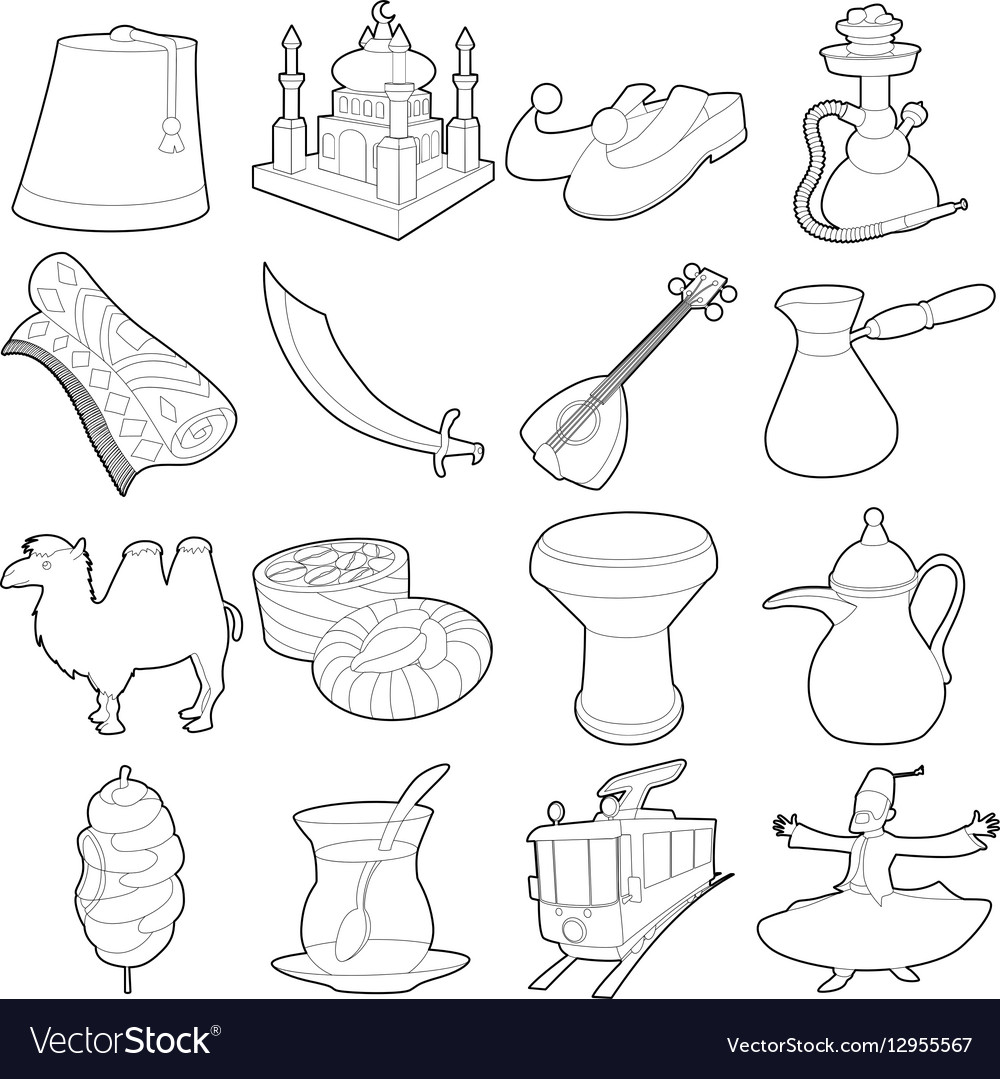 Turkey travel symbols icons set outline style vector