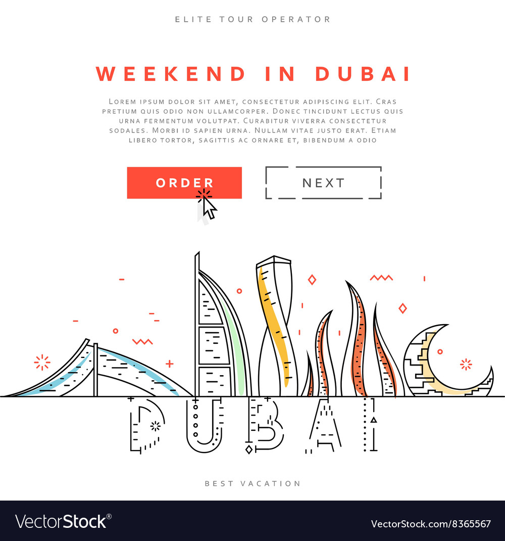 Weekend in dubai united arab emirates vector