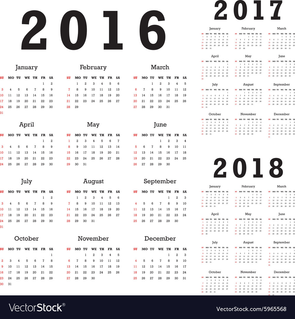 Calendars for 20162018 vector