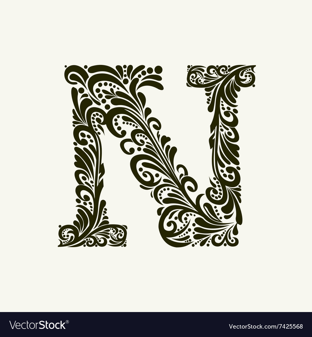 Elegant capital letter n in the style baroque vector