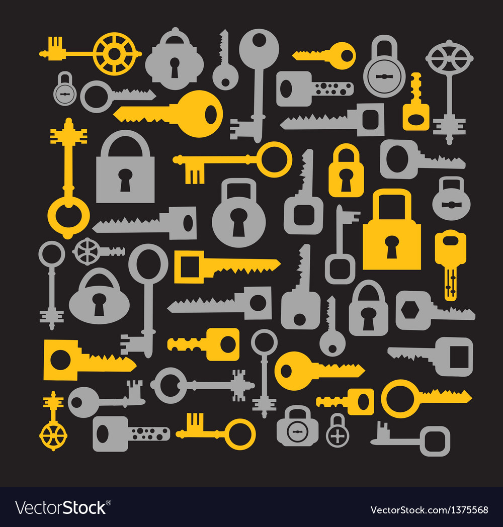 Keys and locks on a black vector