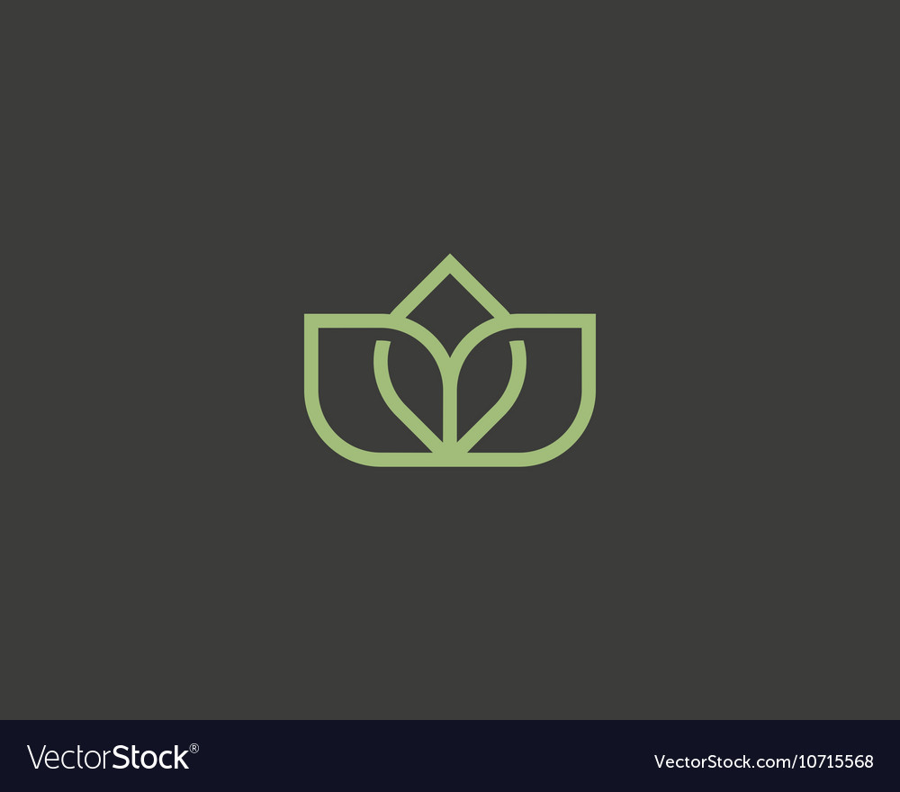 Linear lotus flower logo icon design elegant vector