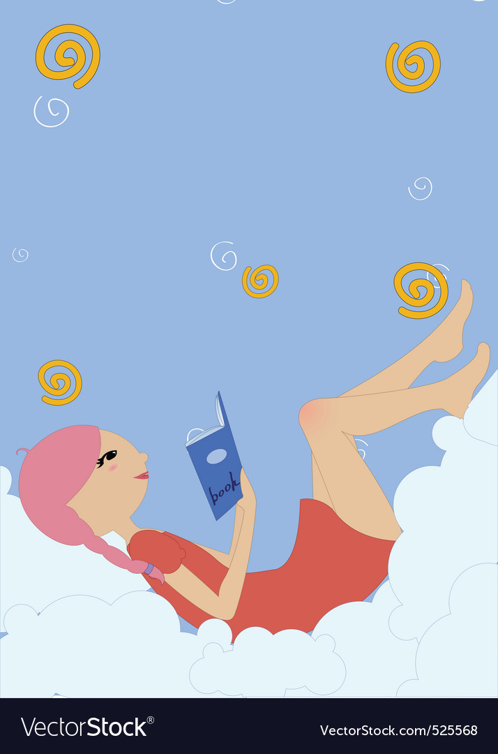 Little girl lying on the cloud and reading a book vector
