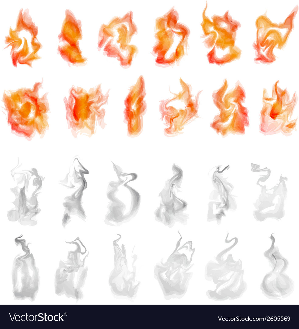 Fire and smoke set vector