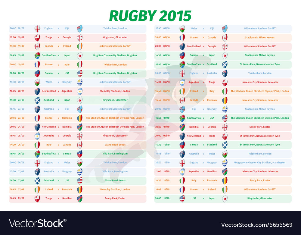 Rugby world cup games schedule vector