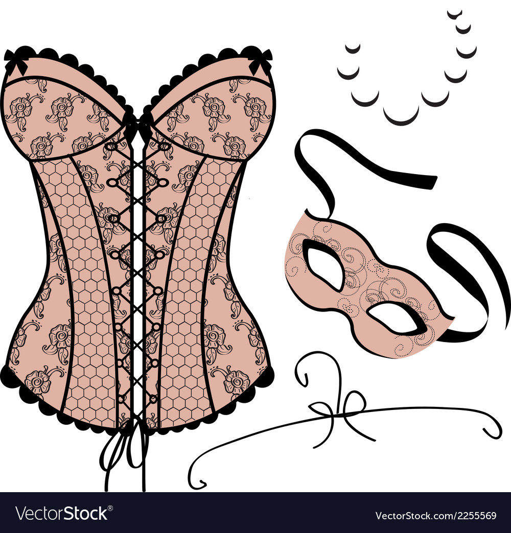 Set of elements for women  carnival mask corset vector
