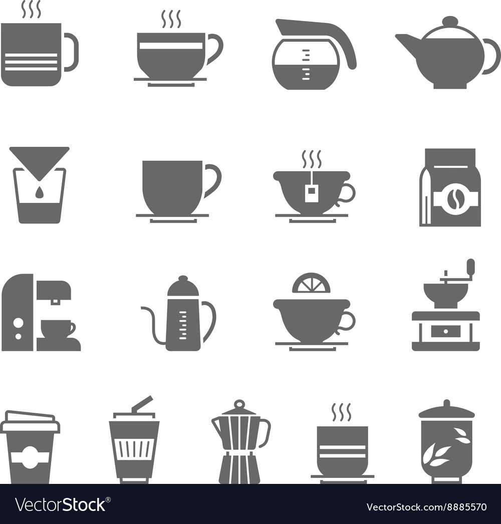Icon set  coffee and tea vector