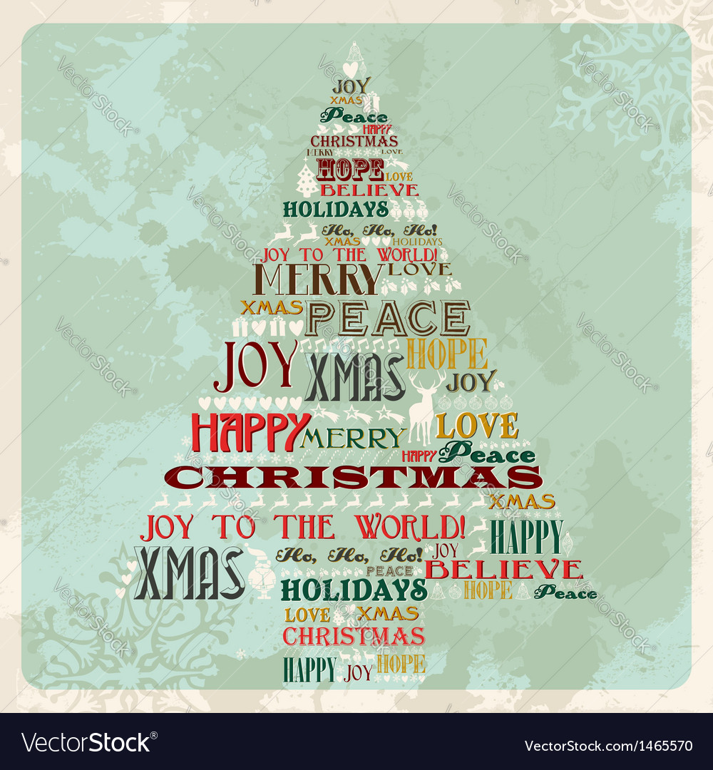 Vintage merry christmas concept tree vector