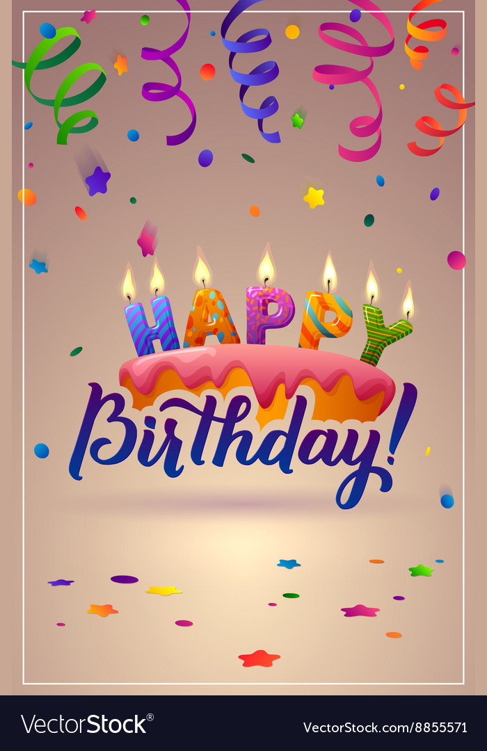 Happy birthday greeting card cake with candles vector