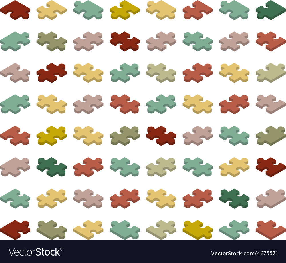 Isometric jigsaw puzzle pieces vector