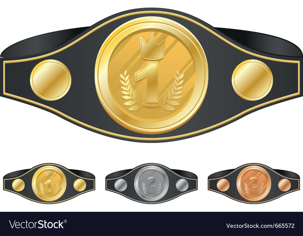 Three champion belts vector