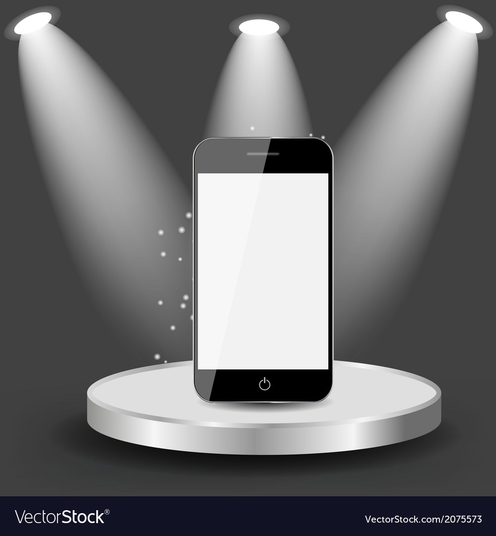 Mobile phone on shelve vector