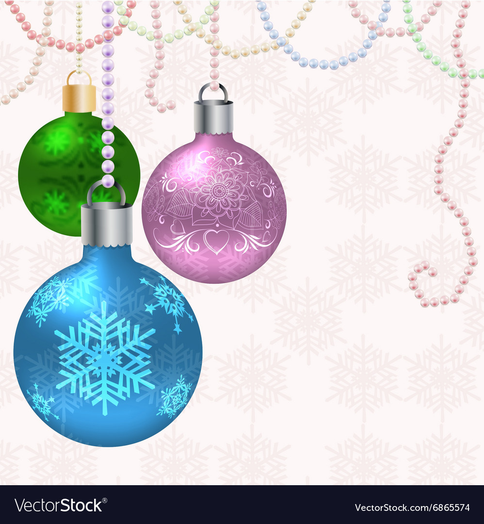 Christmas card with balls vector