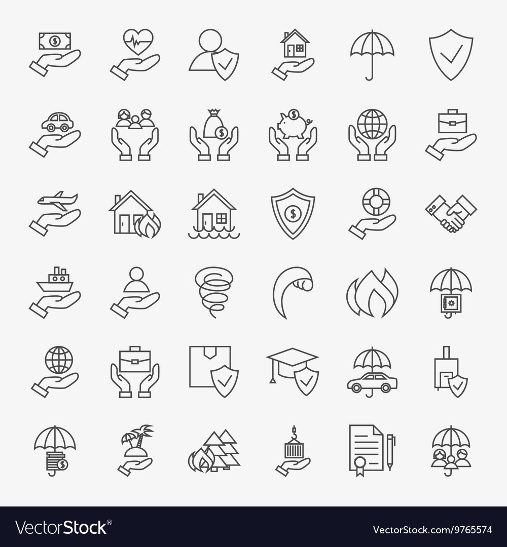 Insurance line art design icons big set vector