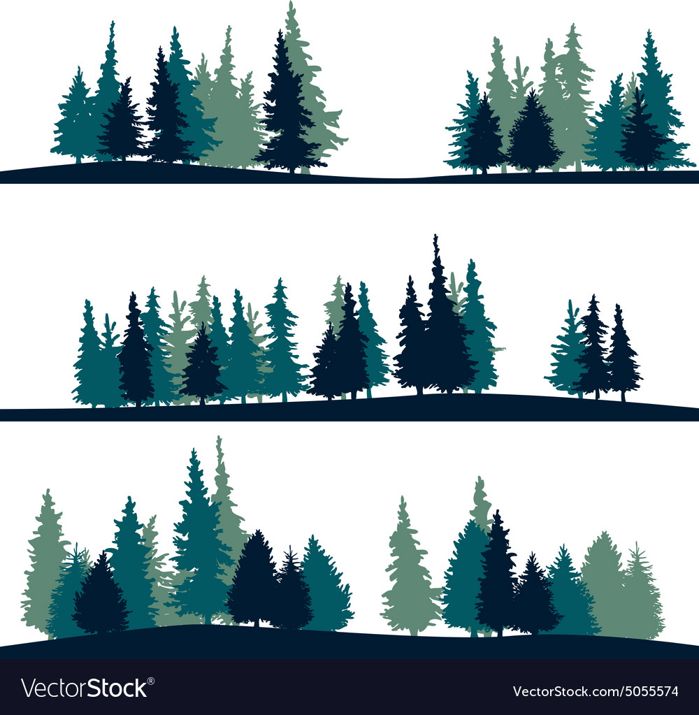 Set of different landscape with firtrees vector