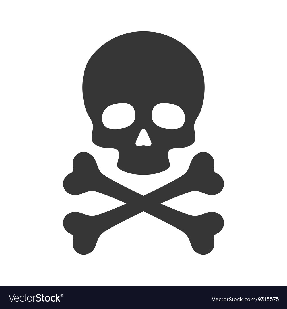 Skull and crossbones icon on white background vector