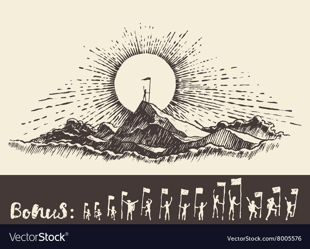 Drawn man on top mountain sunrise winner concept vector