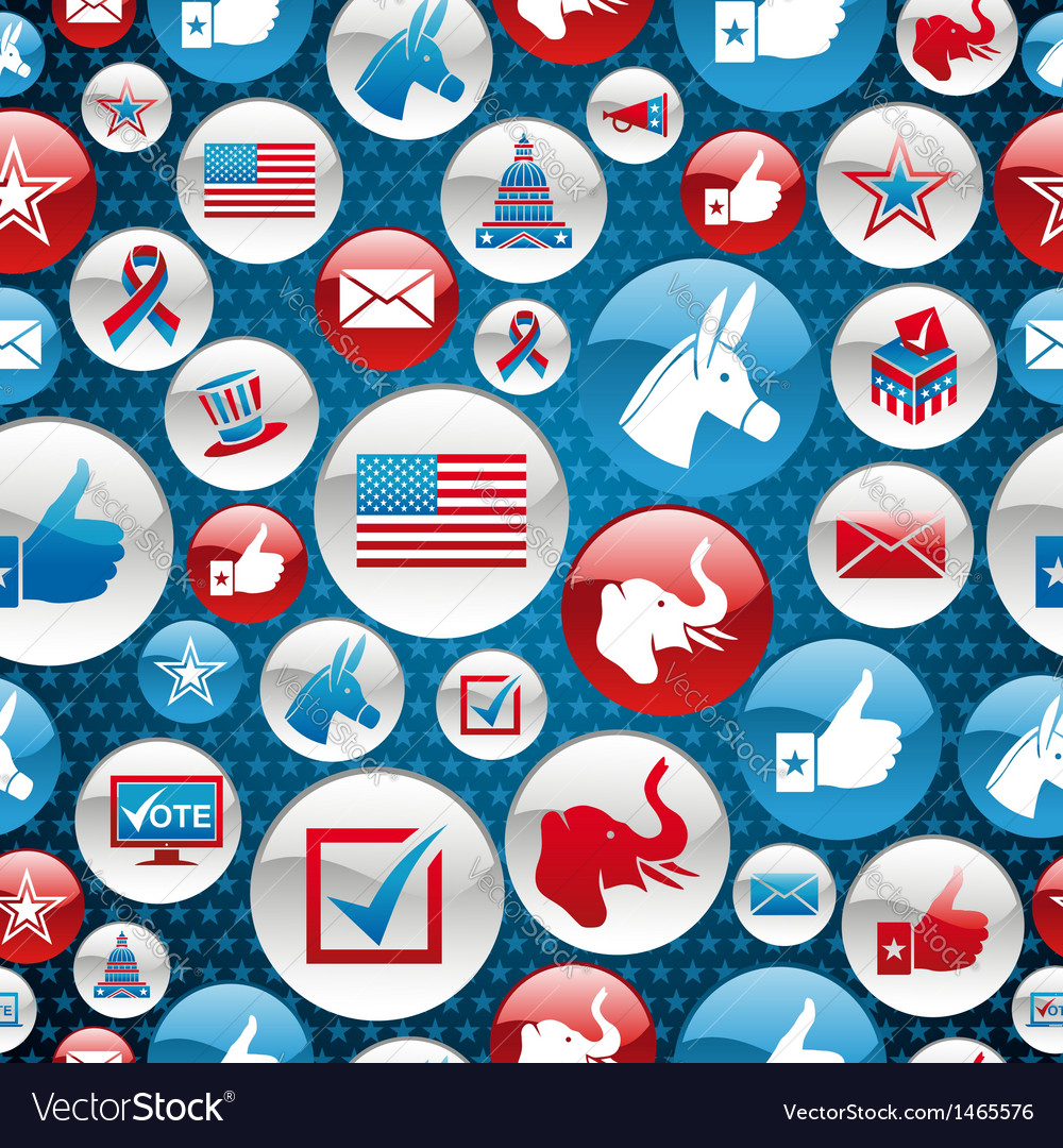 Usa elections icons glossy buttons pattern vector