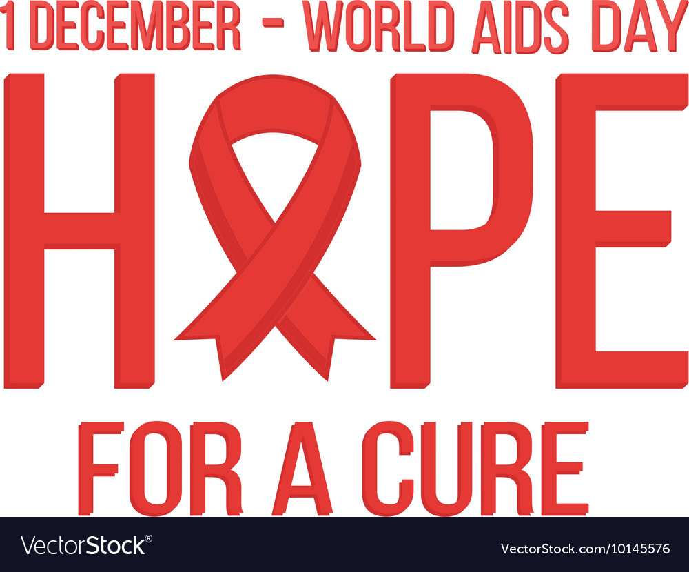 World aids day 1 december card hope with red vector
