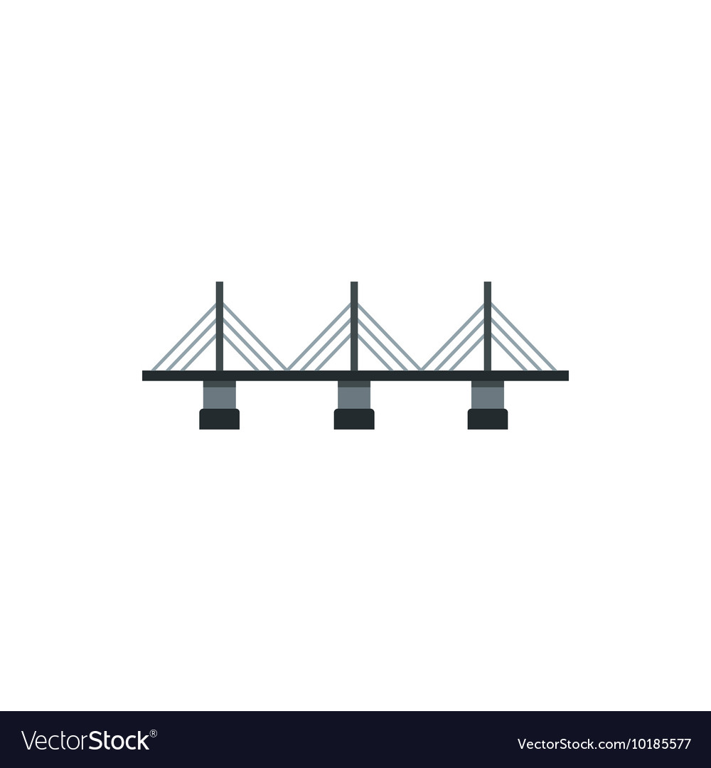 Suspension bridge icon in flat style vector