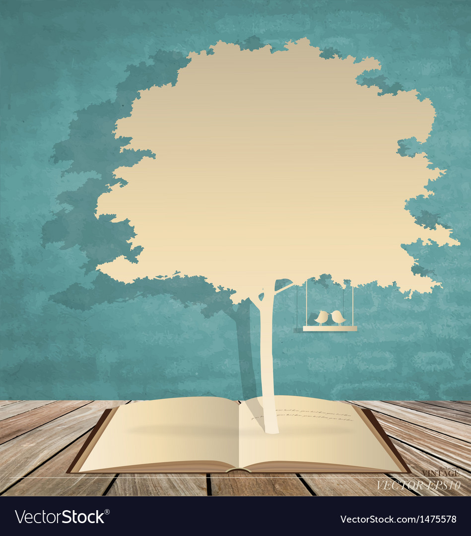 Abstract tree background with book and tree vector
