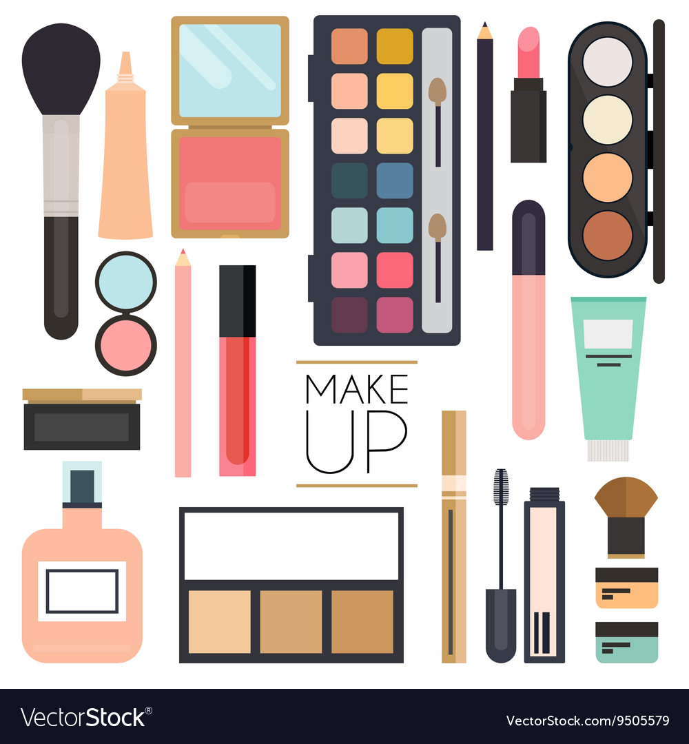 Makeup cosmetics and brushes on white vector