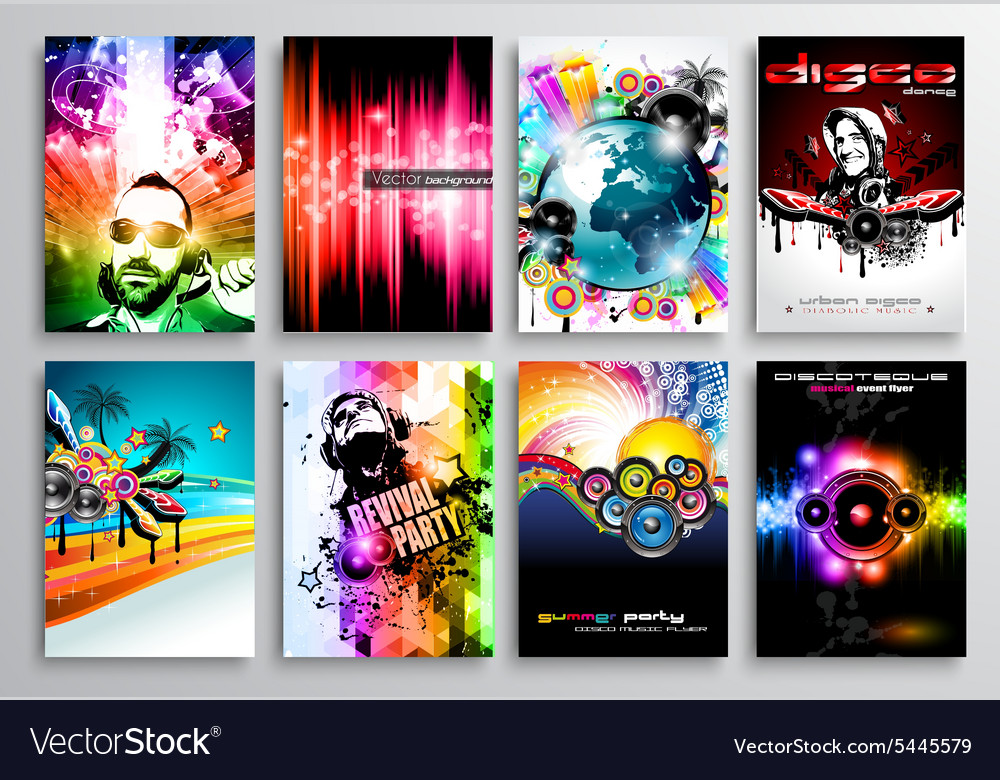 Set of club flyer design party poster templates vector
