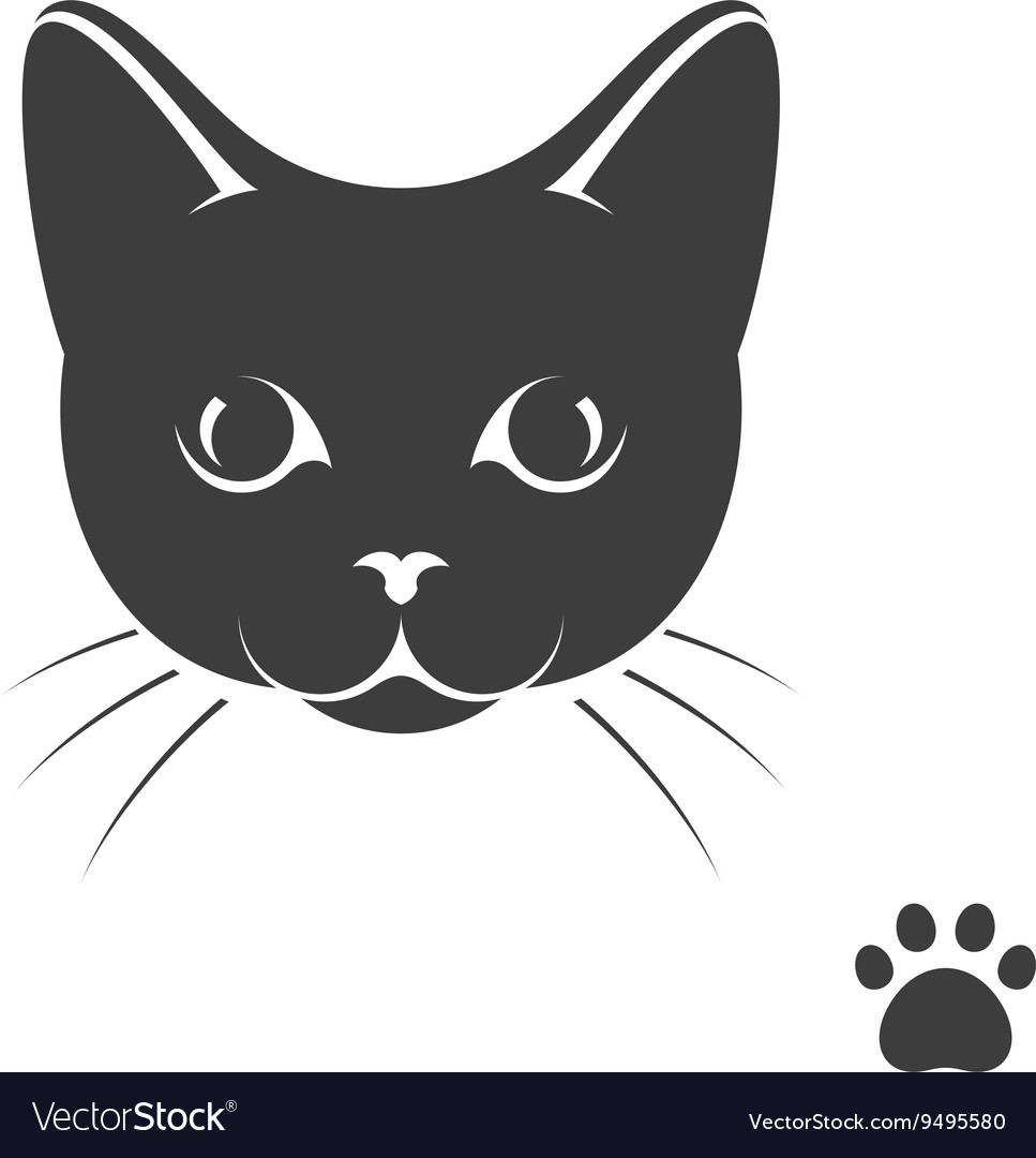 Black kitten with paw print vector