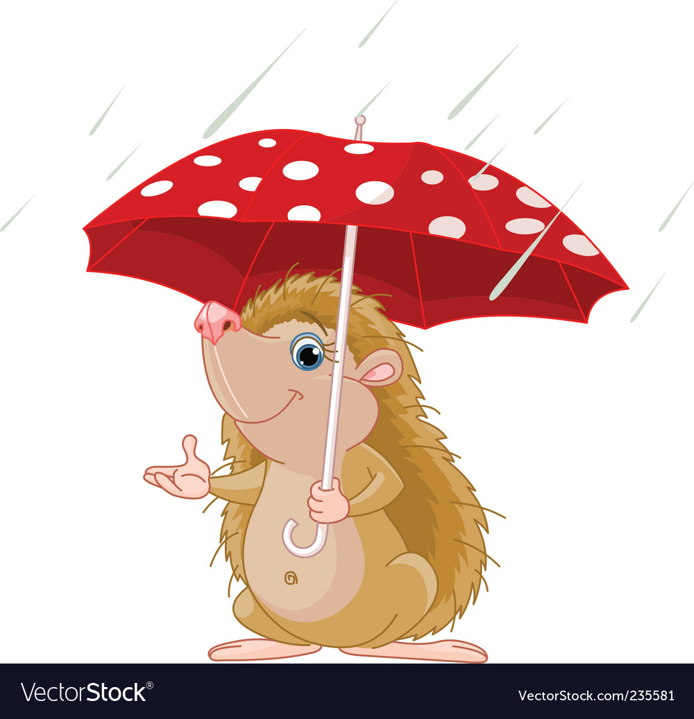 Hedgehog under umbrella vector