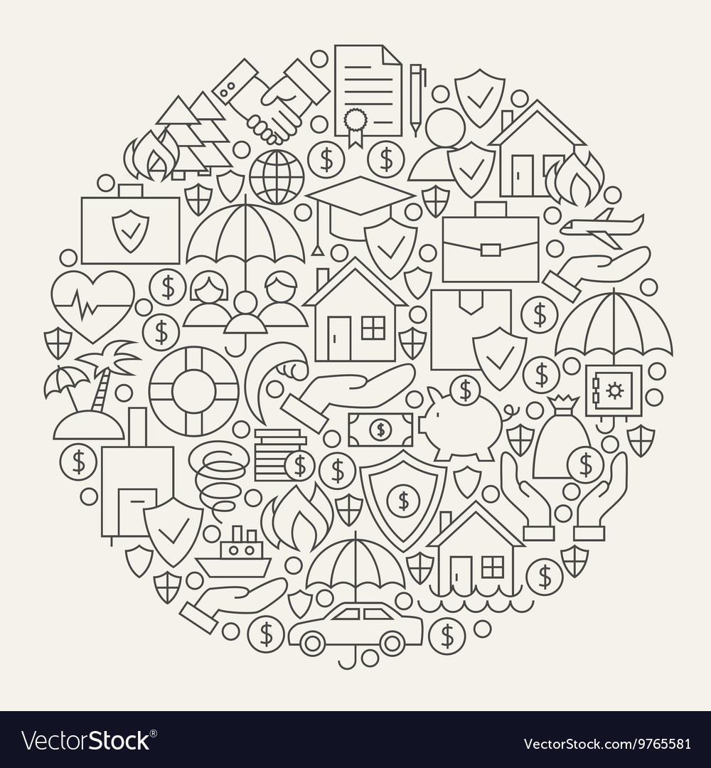 Insurance services line icons set circle vector