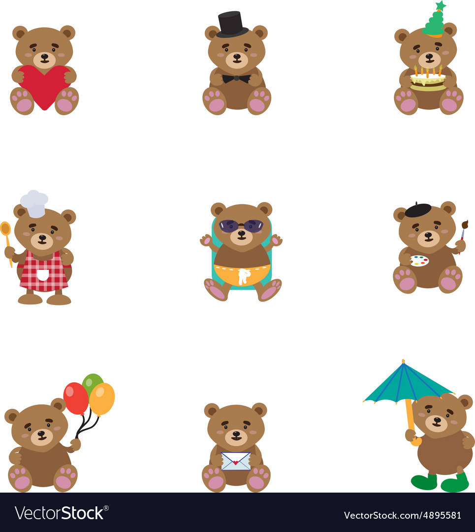 Lovely bears flat vector