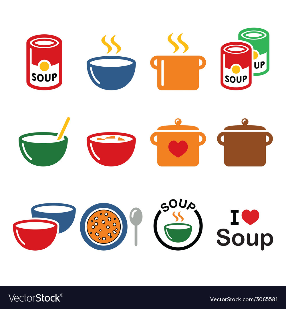 Soup in bowl can and pot  food icon set vector