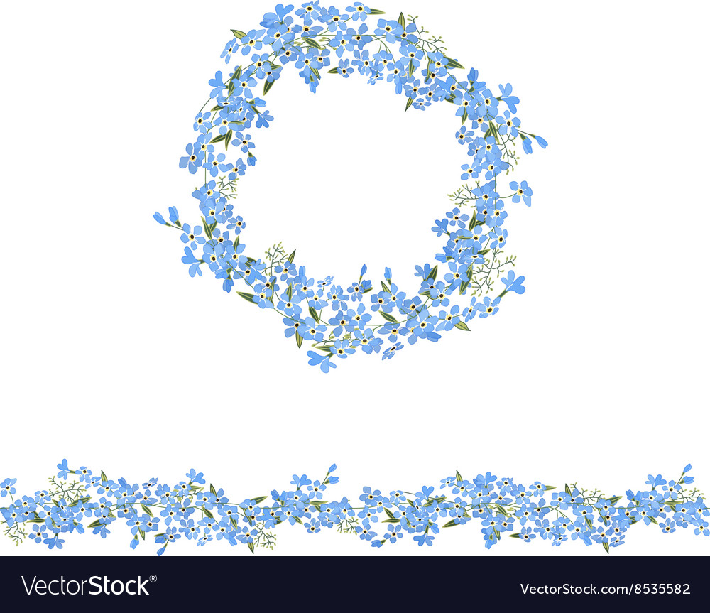 Blue floral garland and seamless pattern brush vector