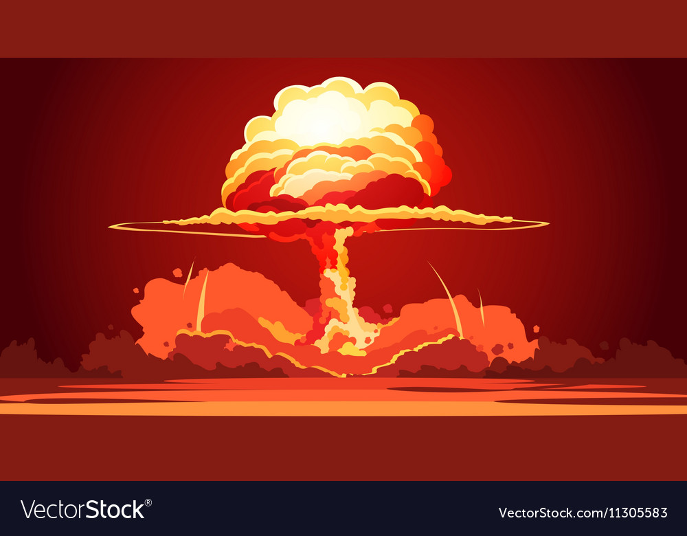 Nuclear explosion mushroom cloud retro poster vector