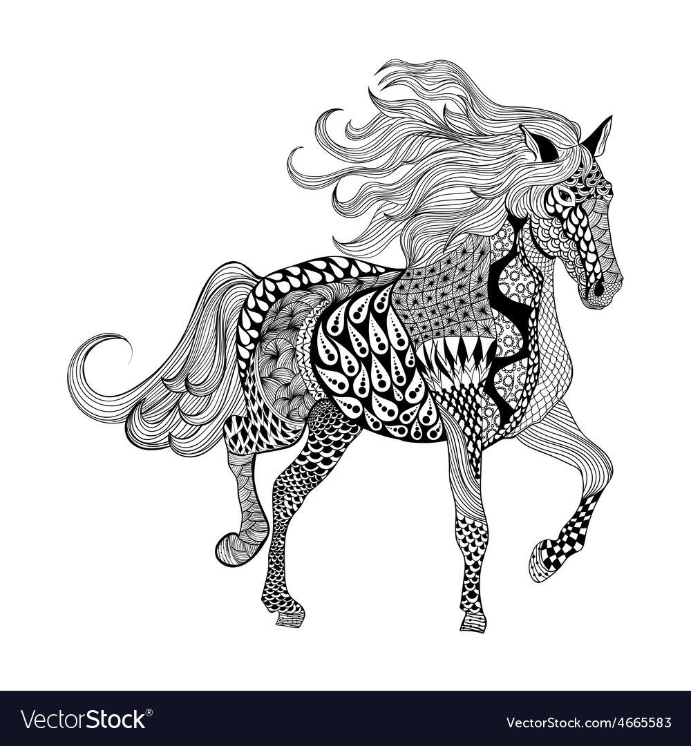 Zentangle stylized black horse hand drawn doodle vector