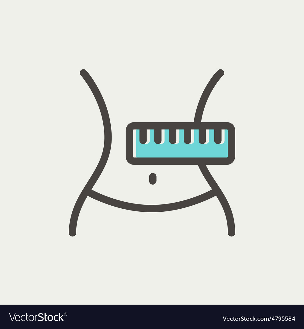 Slimming belly with measuring tape thin line icon vector