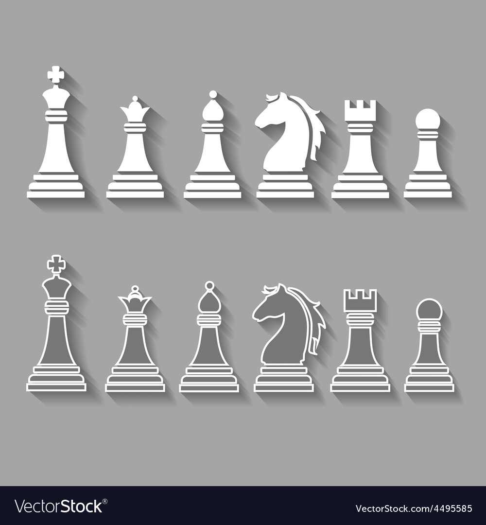 Chess pieces including king queen rook pawn vector