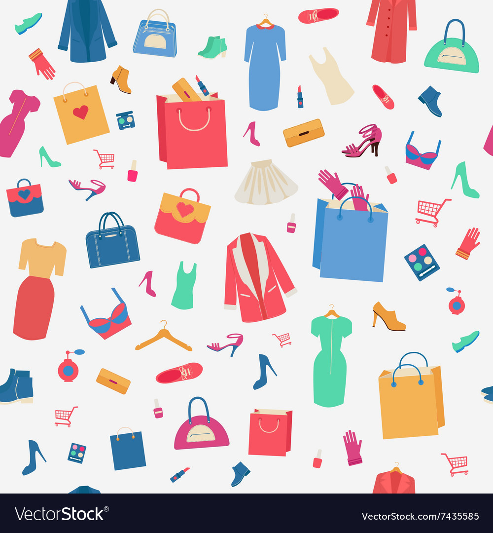 Woman shopping seamless pattern with clothing vector