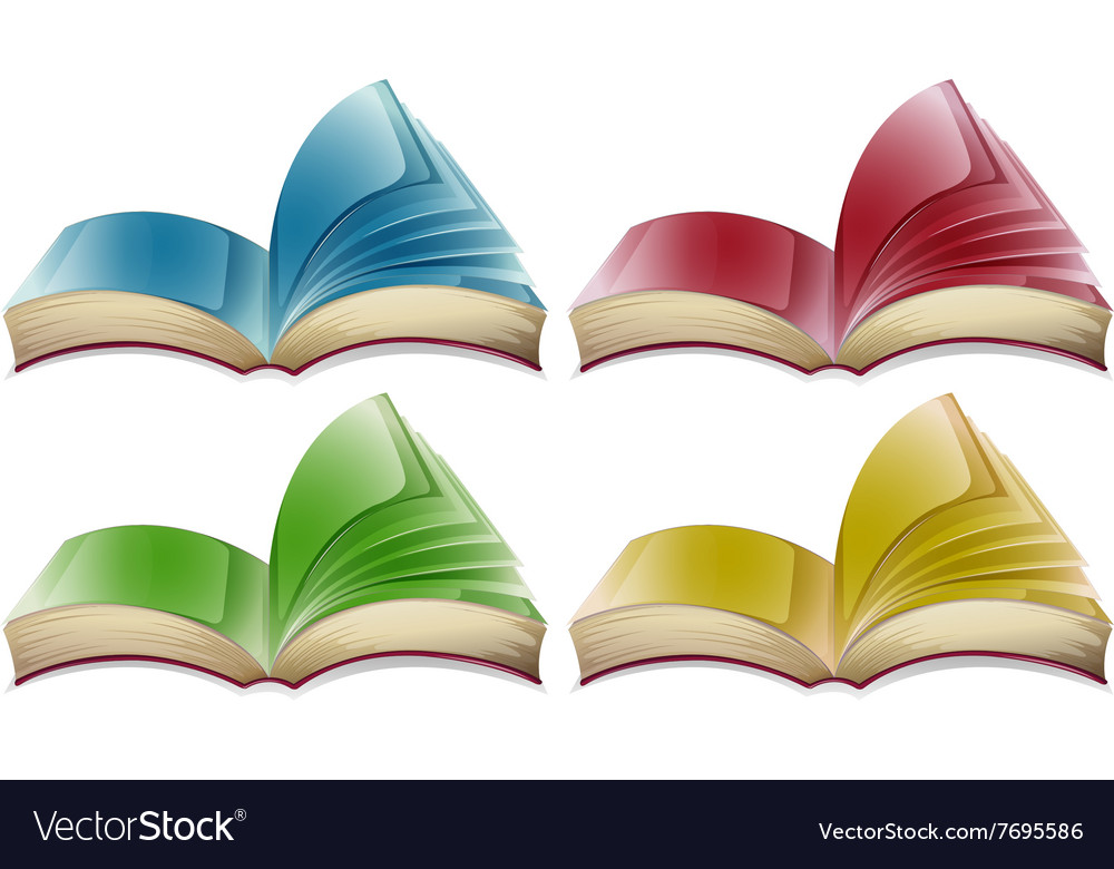 Books in four different colors vector
