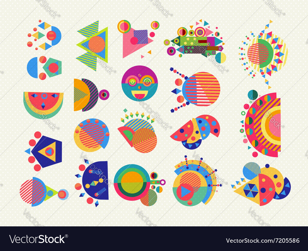 Set geometry element symbol abstract colorful vector