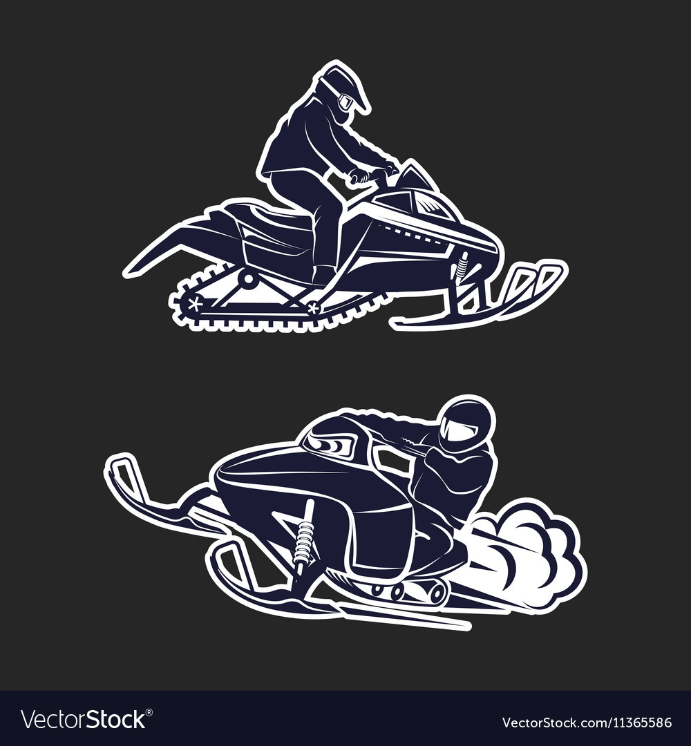 Snowmobiling silhouette on black background vector