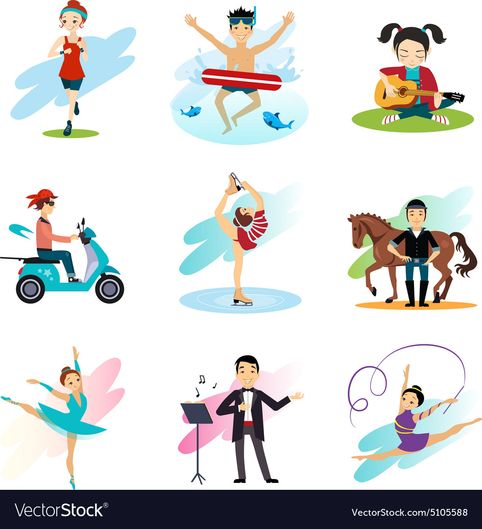 Active lifestyle hobbies healthy lifestyle set vector