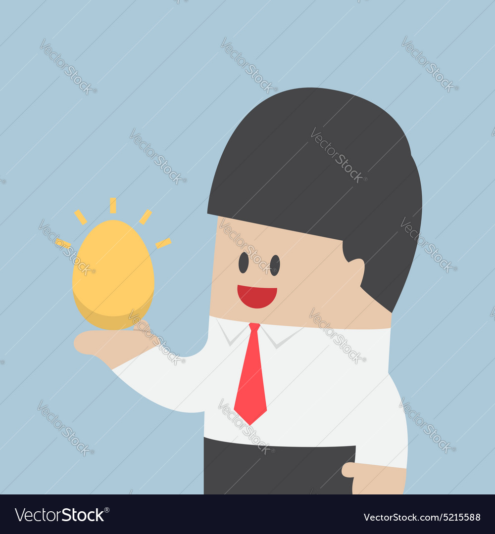 Businessman holding golden egg in his hand vector