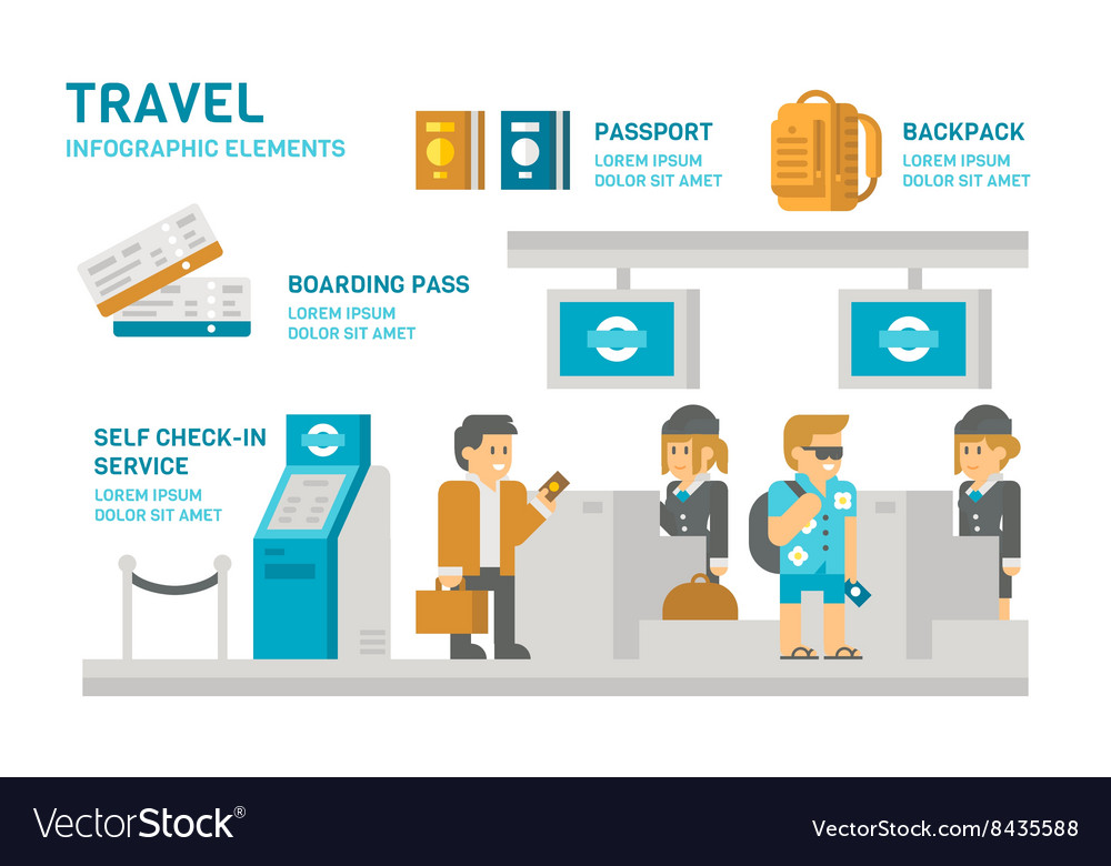 Flat design checkin at airport travel vector