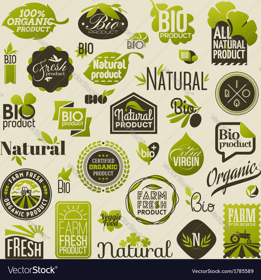 Natural organic product labels and emblems vector