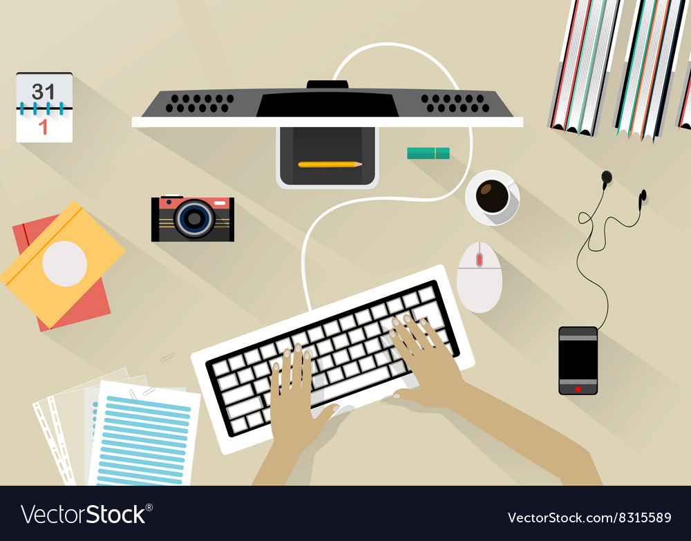 Office desk interior vector